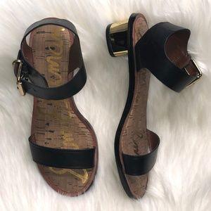 Sam Edelman 'Trina' Black Gold Sandal Size 5